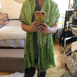 Accessories - Green dotted cotton wrap scarf, NEW, made in India